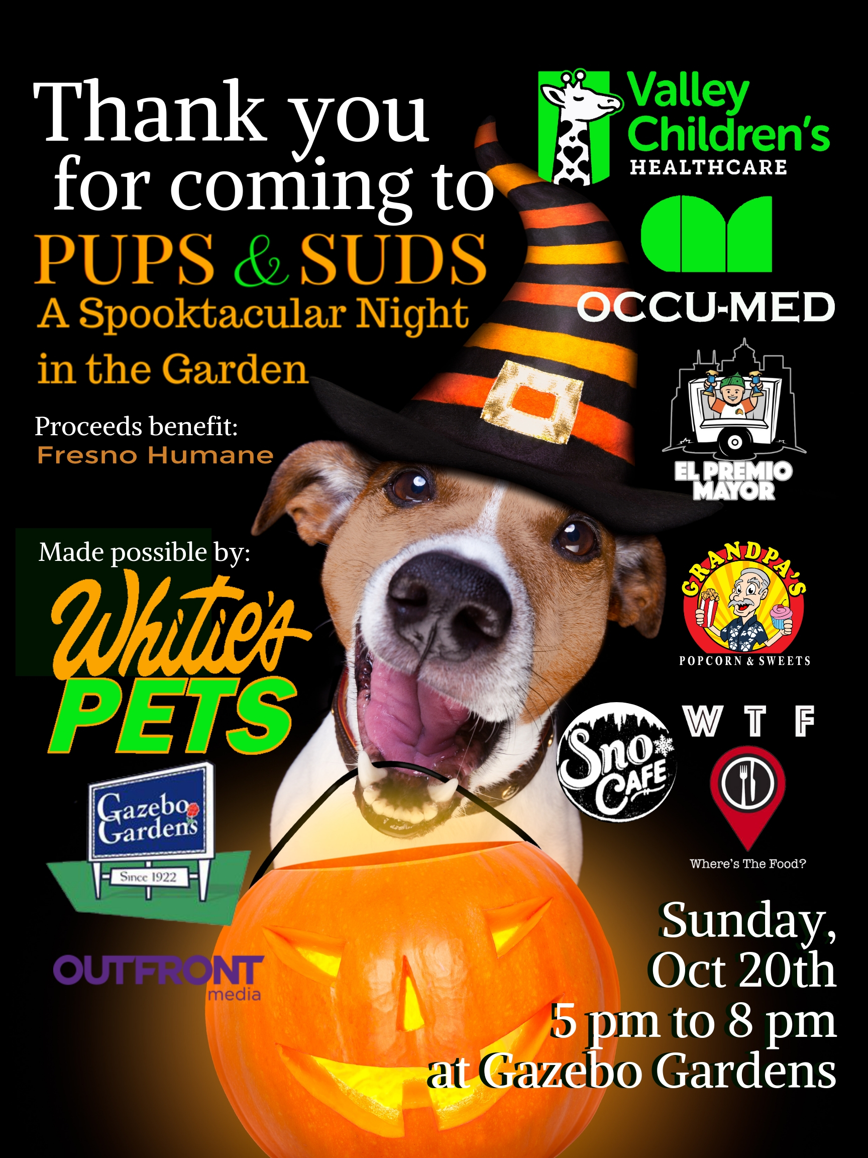 DOGS IN COSTUME + BEER + FOOD TRUCKS + MUSIC + FRIENDS + RAFFLE PRIZES = PUPS & SUDS!  PUPS & SUDS has all the ingredients of a fun-tastic time with your best doggy pal! Make insta-memories with Fresno Humane all for a great cause!!! All proceeds benefit the medical fund helping lost, injured pets get access to life-saving surgeries and medicines. You can be a life-saver and have fun too!
