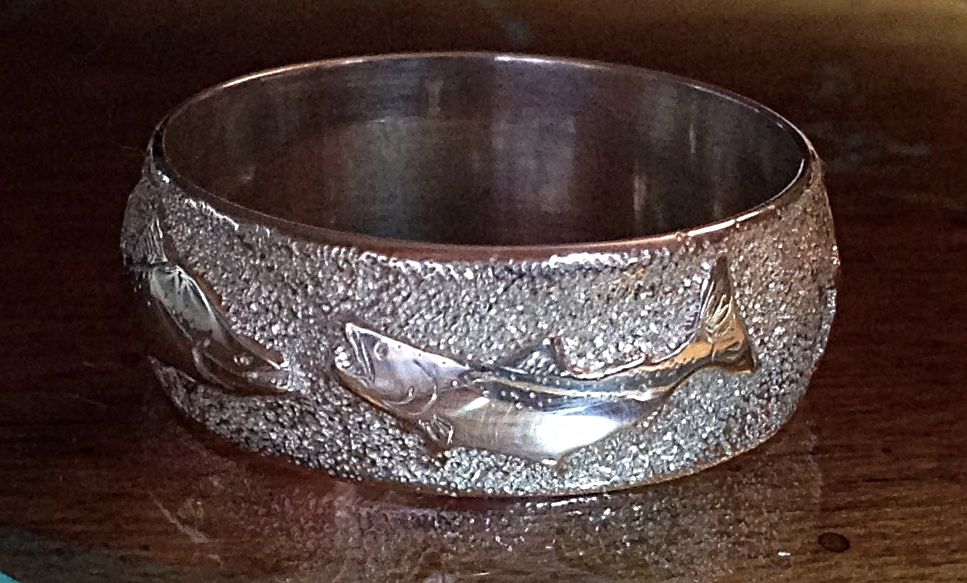 Hand engraved ring with salmon #1