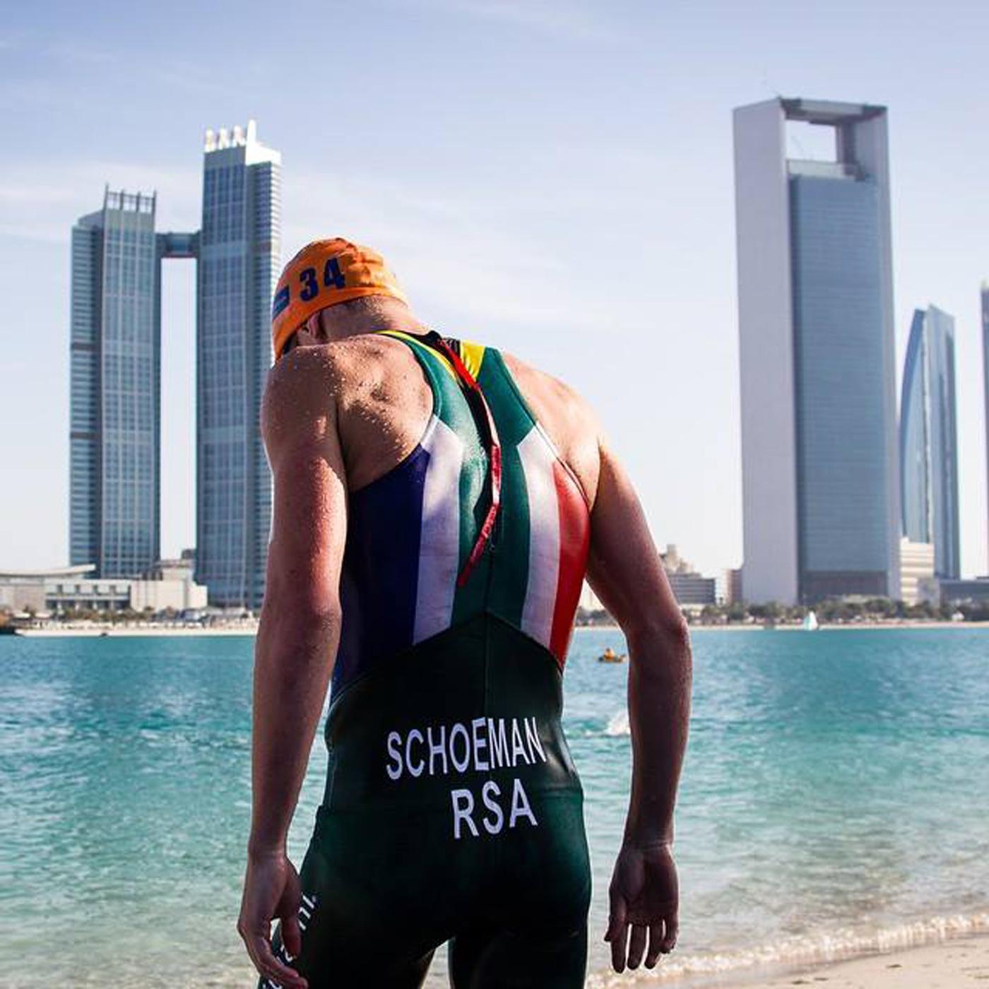 South African triathlete Henri Schoeman at swim start in Abu Dhabi.
