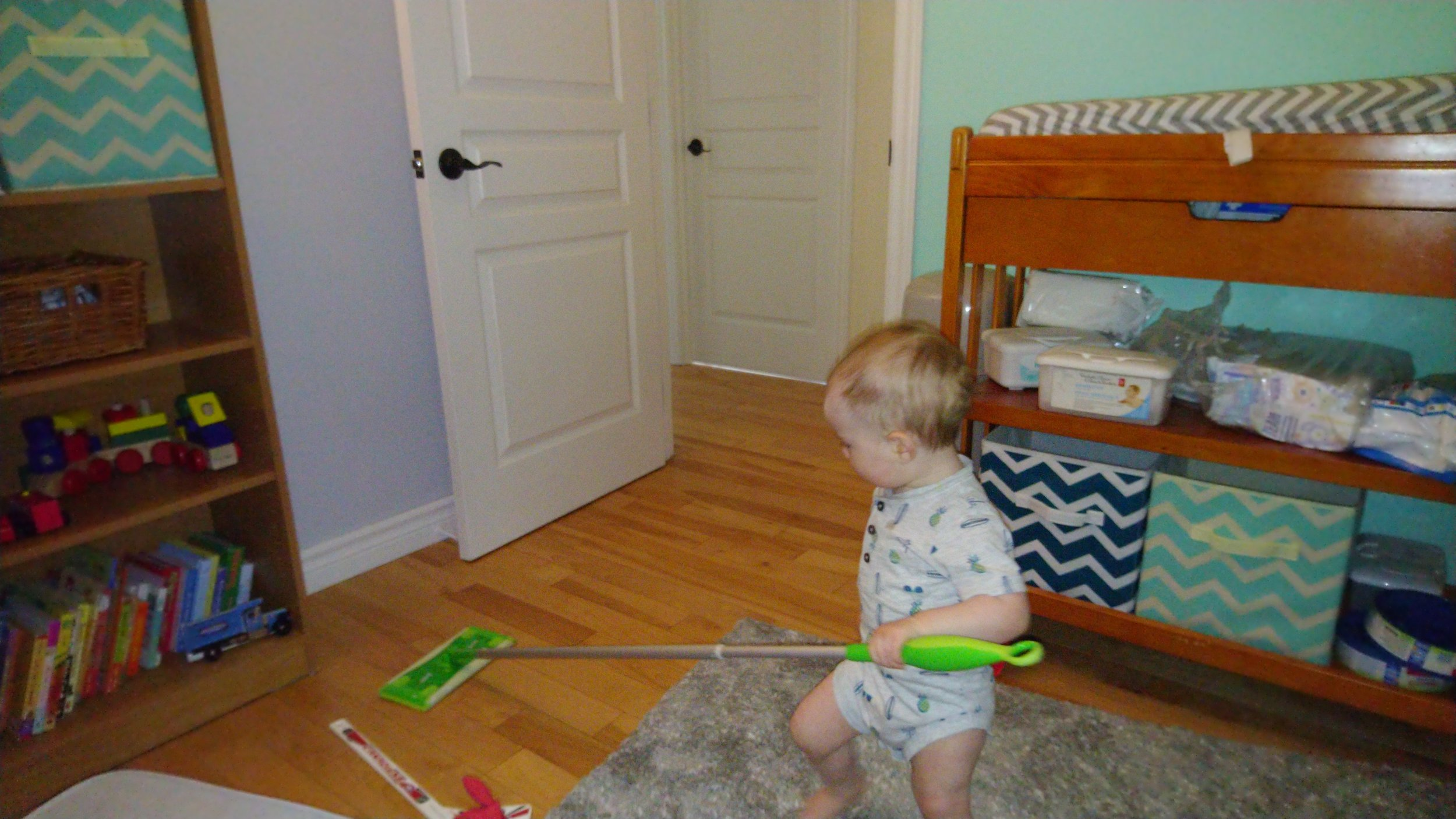 Cleaning his room