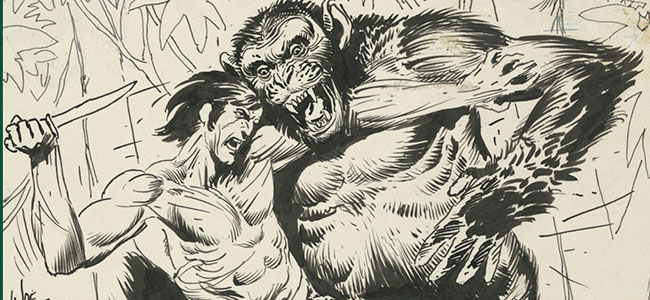 Detail of Joe Kubert's Tarzan of the Apes cover, #207.