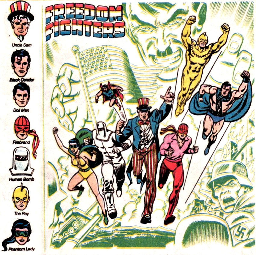 After fighting a never-ending battle against Nazi's, the Freedom Fighter came to Earth One. Probably because of the lack of Nazis.