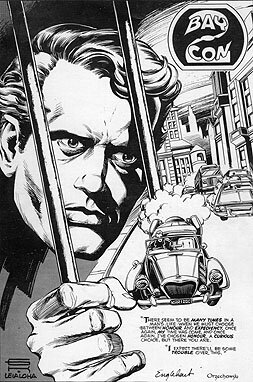Kane piece inked and used as a cover for the Bay Con program, words by Englehart