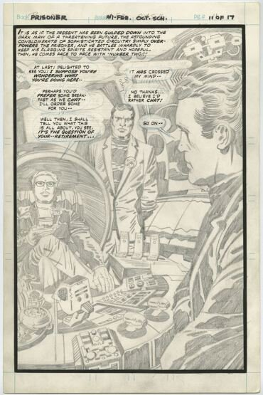 Unfinished page of art from the Kirby adaptation. Mike only got as far at the lettering before being told to stop.