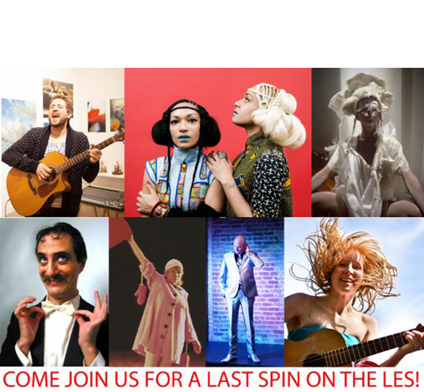 A LAST SPIN ON THE LES - November 28, 2015@ NOoSPHERE Arts in ManhattanLES NUBIANS PETER DANIEL STRAUS LESLEY KERNOCHAN ZERO BOY CHARLES DAVÍ MIK KUHLMAN AUTUMN KIOTIPhotos from closing event by Gisella Sorrentino and Matilde Soligno