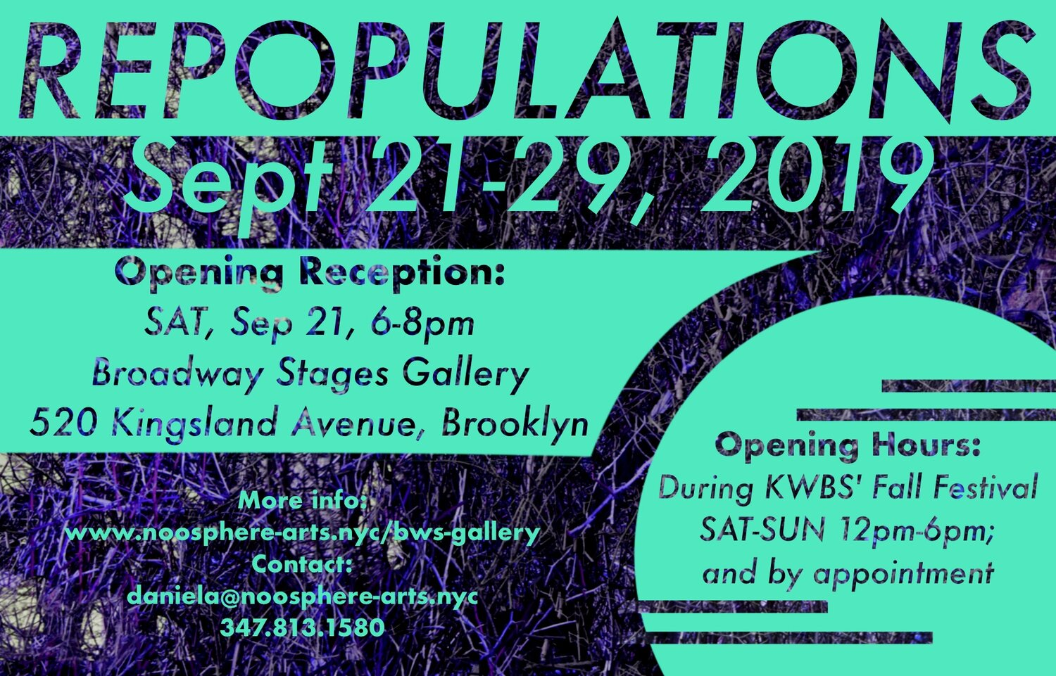 NOoSPHERE Arts presents  REPOPULATIONS,  a group exhibition and series of performances opening during  Kingsland Wildflowers' Fall Festival , taking place during Climate Week 2019. Curated by Daniela Holban, the show will feature works by 20+ artists.   REPOPULATIONS  examines the parallels between declining local natural habitats within the Greenpoint landscape: Native plant and wildlife alongside the artists' populations have become depleted over time due to the neglect and contamination of their ecosystems by both industrial and property development. A commentary on a microcosm of a greater global crisis, the exhibition addresses the importance and celebrates the repopulation efforts of these ecosystems in several ways – by presenting a selection of artists working in the area as well as showcasing artworks that comment on environmental themes.  With Works by:  Jon Barraclough, Marijke Brinkhof, Juliet Jane, Maki Kaoru, Aomi Kikuchi, Sol Kjok, Tom Koken, Sjaak Kooij, Ofra Lapid, Till Lauer, Allison Maletz, Julianne Nash, Agata Nowicka,   Brian Rattiner, Beau Bree Rhee, Noam Shoan, Asia Sztencel, Adriano Valeri, Ingvild Waerhaug, Martynka Wawrzyniak, Albin Wiberg, Alex Wolkowicz and Gabriel Zimmer.   Special multi-media performance with  Ingvild Waerhaug  on vocals and  Art Baron  on bass recorder & trombone on Sept.21st at 6:30PM.