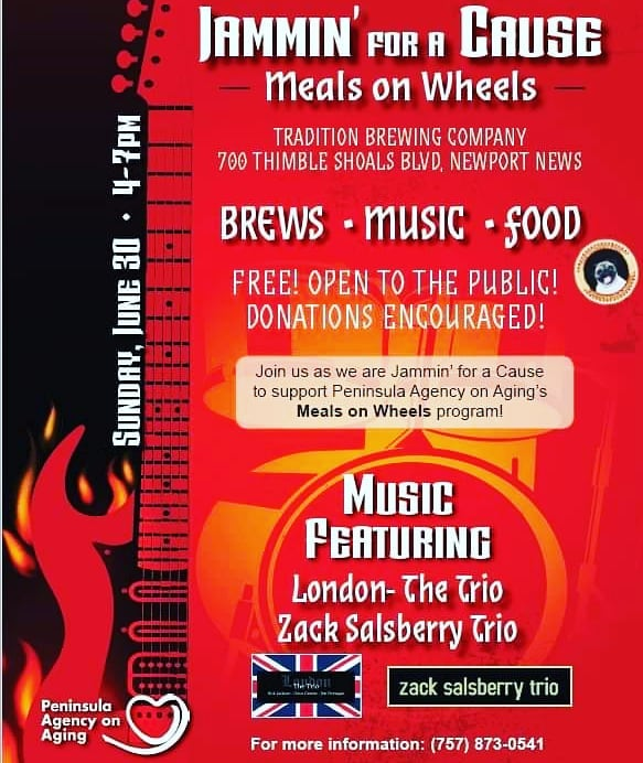 BIG fundraiser for @mealsonwheels SUNDAY at @traditionbrewing from 4-7p.m.. FREE admission. London-The Trio and the Zack Salsberry Trio will be providing the entertainment.  #mealsonwheels #fundraiser #microbrewery #brewery #supportlivemusic #concerts #gigs #newportnews #gibsonguitars #peaveyamps #fenderguitar #donate #blues #classicrock #singersongwriter #originalmusic