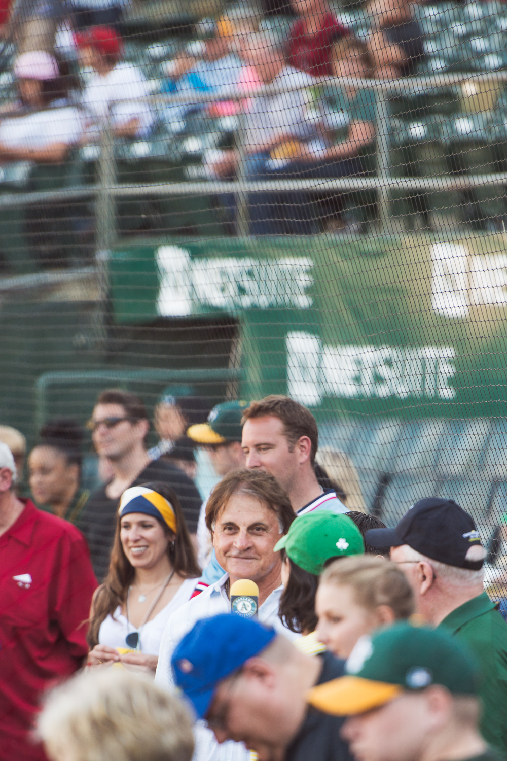 Tony LaRussa giving an interview at Oakland A's Dog Day at the Park // Ashley Petersen Photography