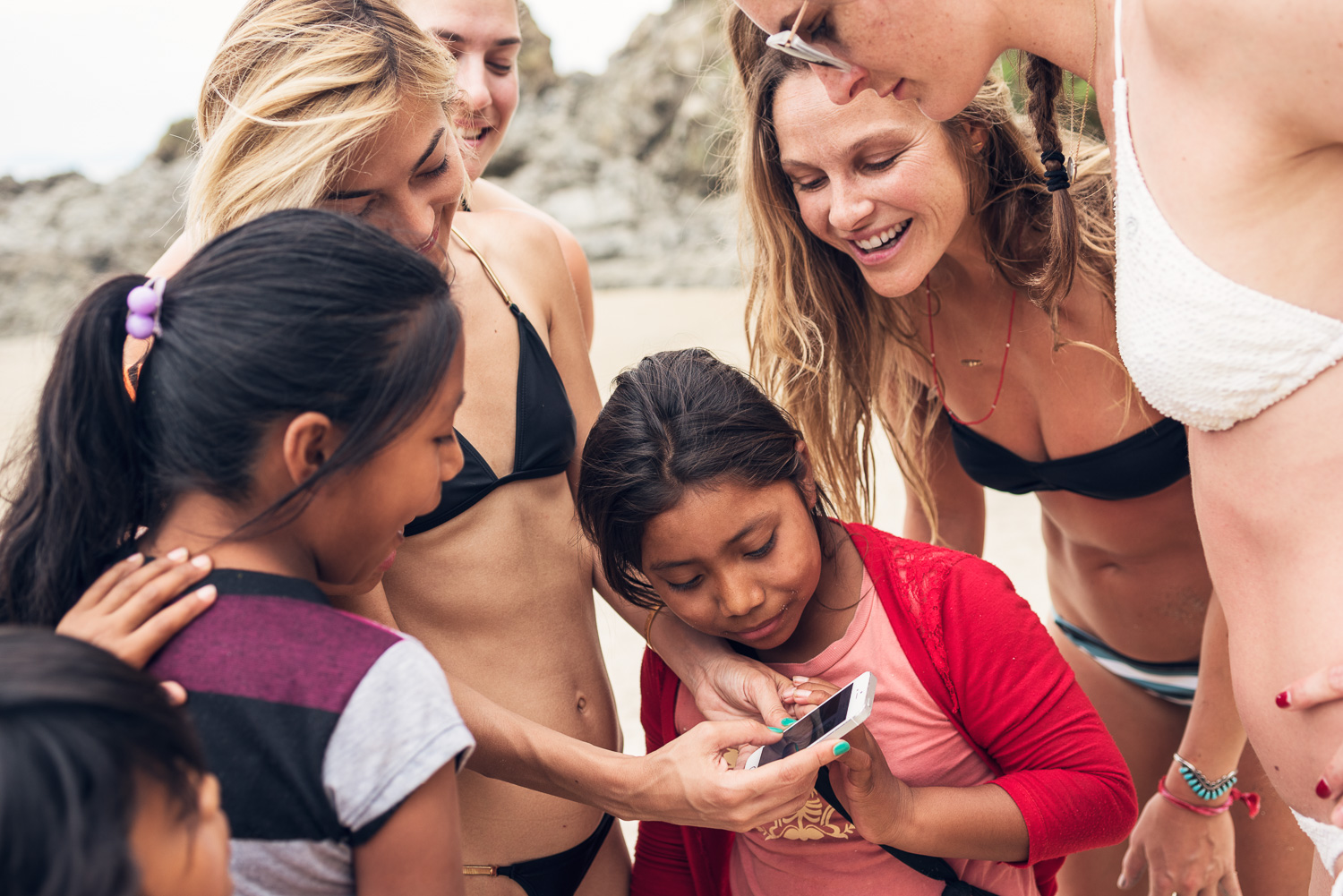 Beau Garrett and Lily Flores with local girls // Sayulita, Mexico // Ashley Petersen Photo