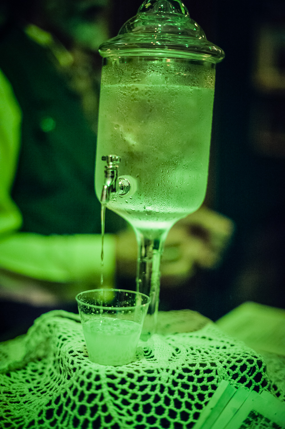 Water opens up the absinthe // Absinthe bar at The Great Christmas Dickens Fair // Ashley Petersen Photo