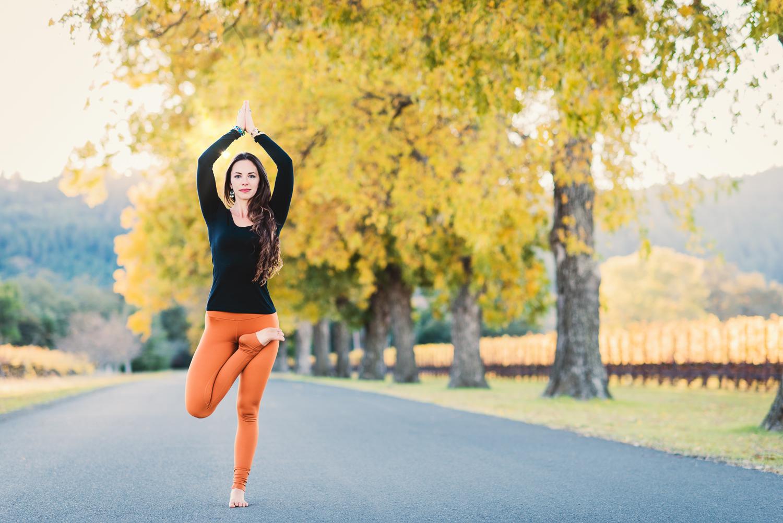 Half Lotus Tree Pose // Napa in the Fall // Ashley Petersen Photo