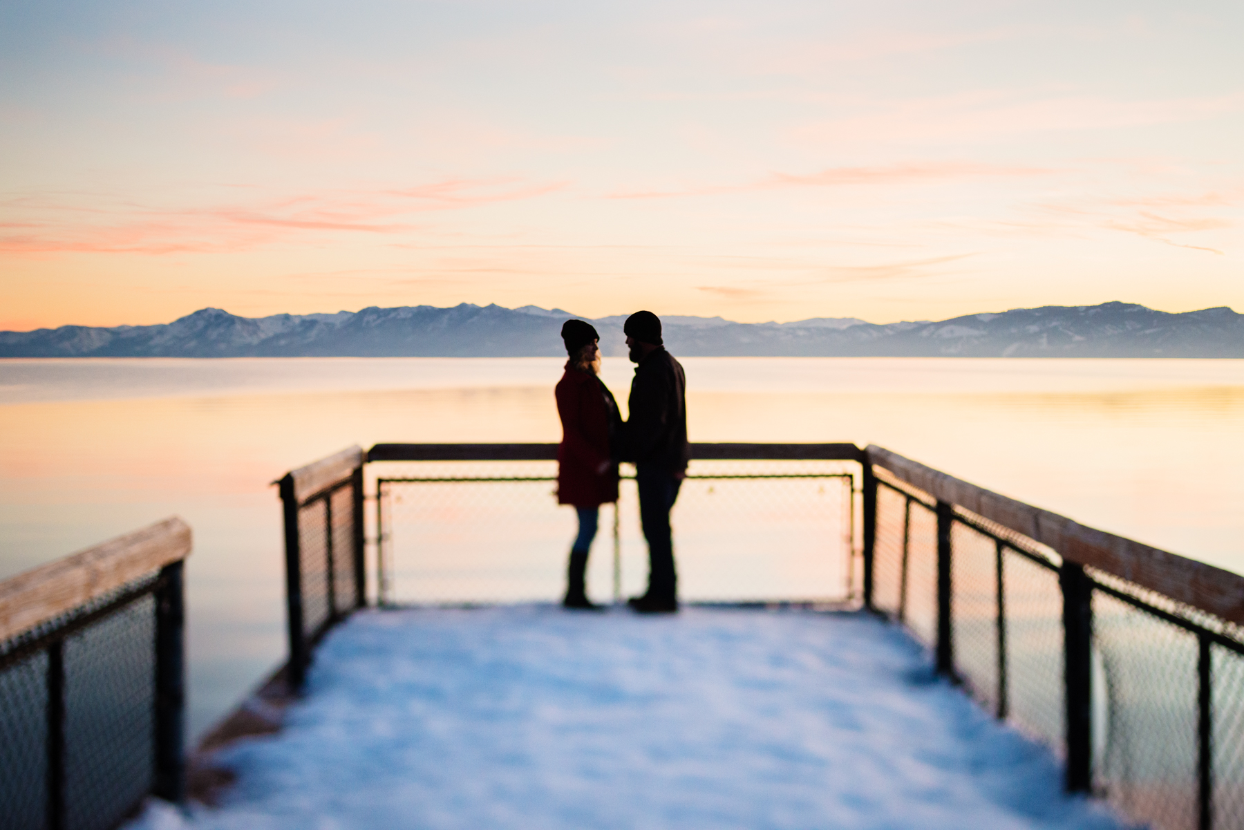 Lake Tahoe Snow Engagement // Sunset on the Lake