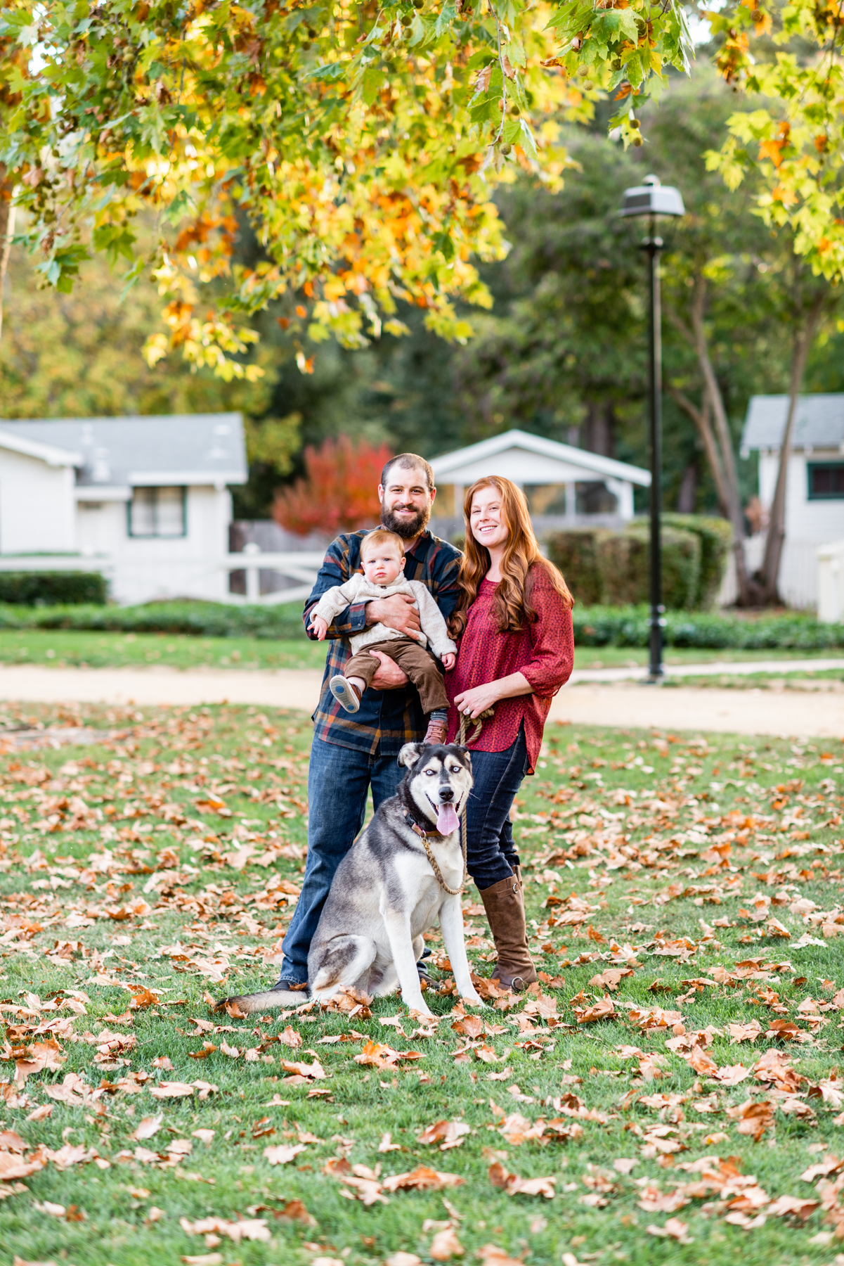 Family Portrait with their dog at Hap Magee Park in Danville, CA.