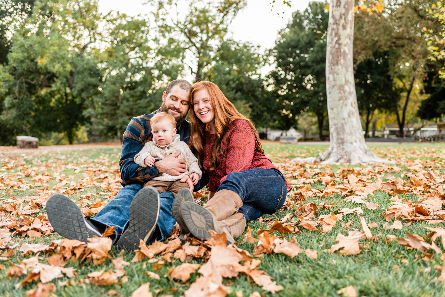 Family fall portrait at Hap Magee Park in Danville, CA.