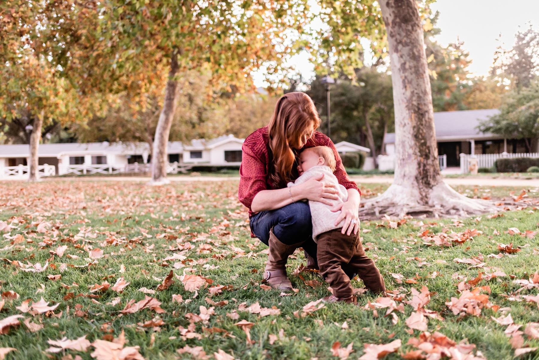 Mama and baby at Hap Magee Park during fall.