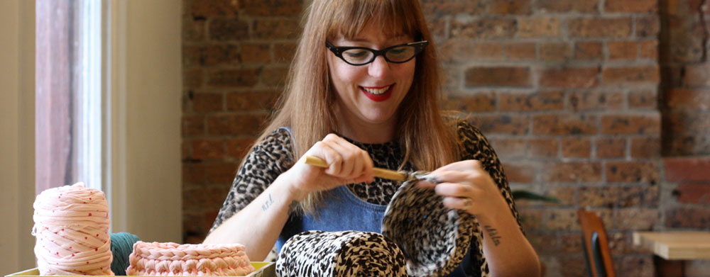 Anthea of Full Tilt Nana crochets up a storm in The Windsor Workshop studios