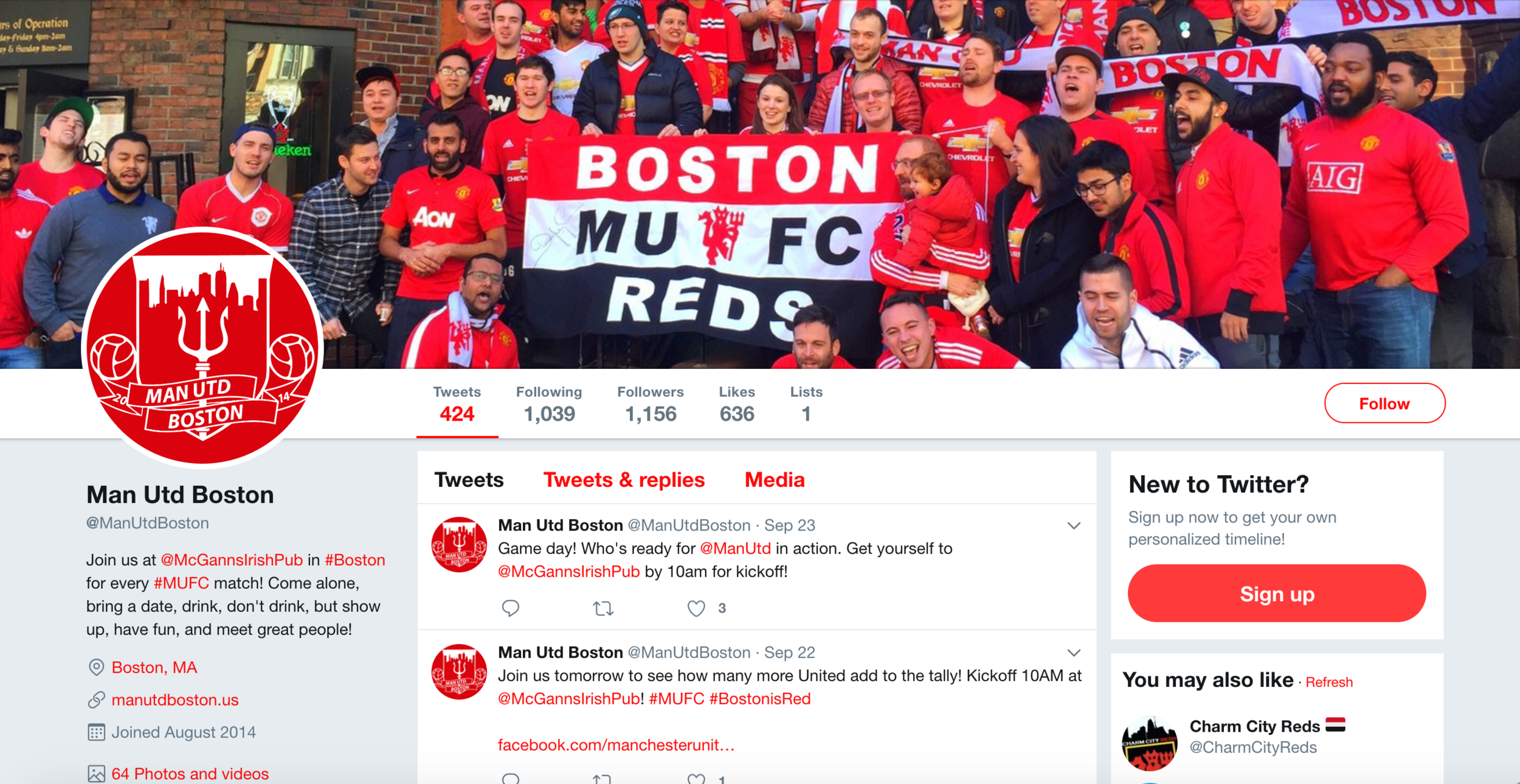 Largest Man United supporters group in the US. - Co-founded, promoted, and grew this group from 4 to 1000+ members in Boston, MA.