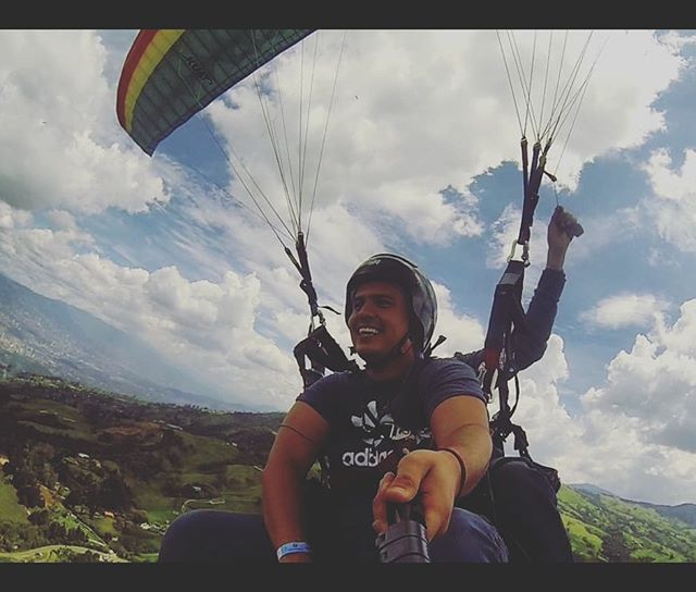 """God placed the best things in life, on the other side of fear."" #Paragliding #Medellin #SkydivingIsNext"