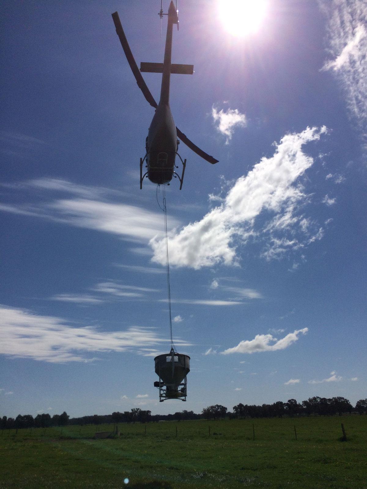 Fertilister in the Jetranger Helicopter