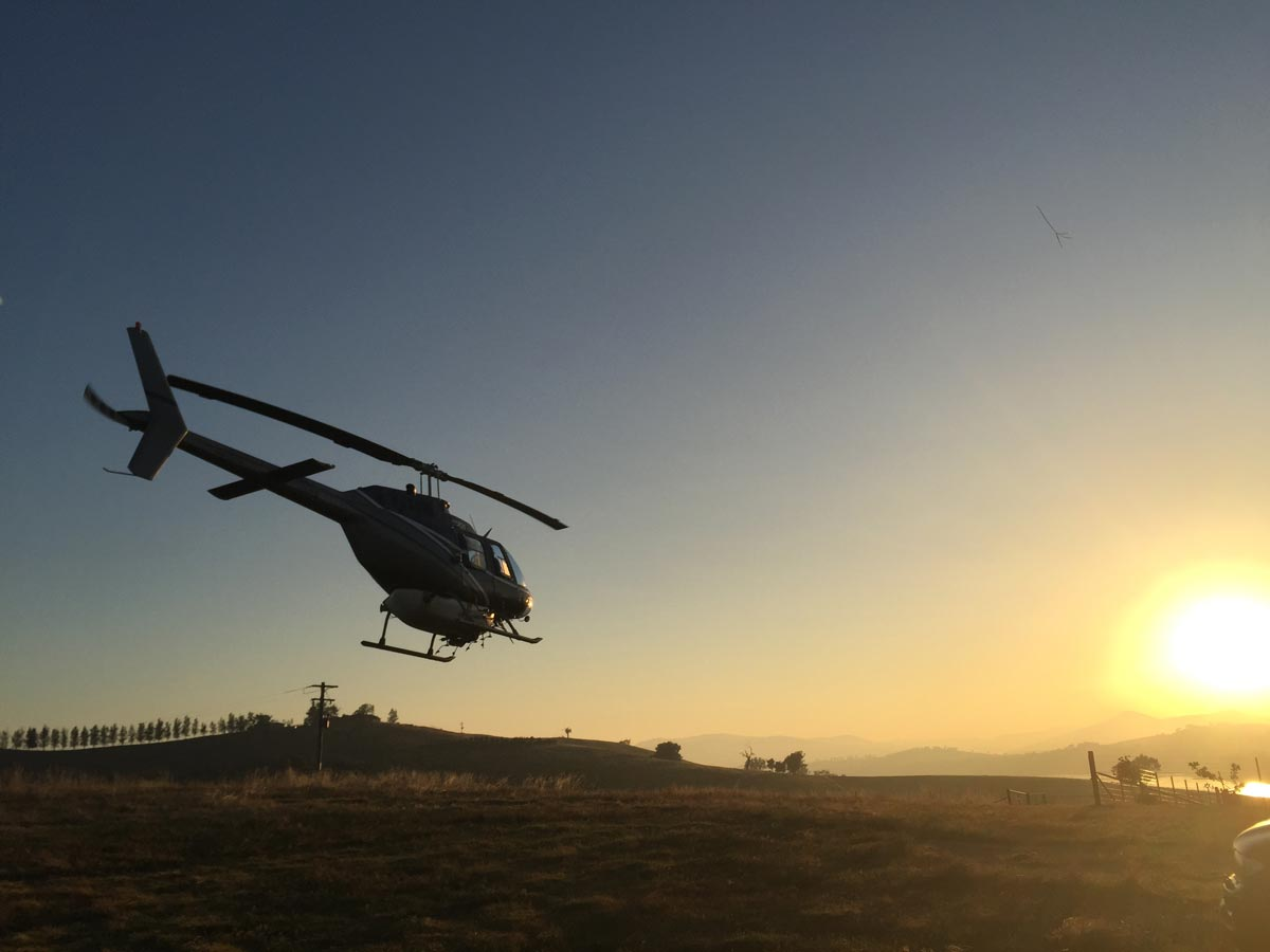Helicopter Takeoff at Sunrise