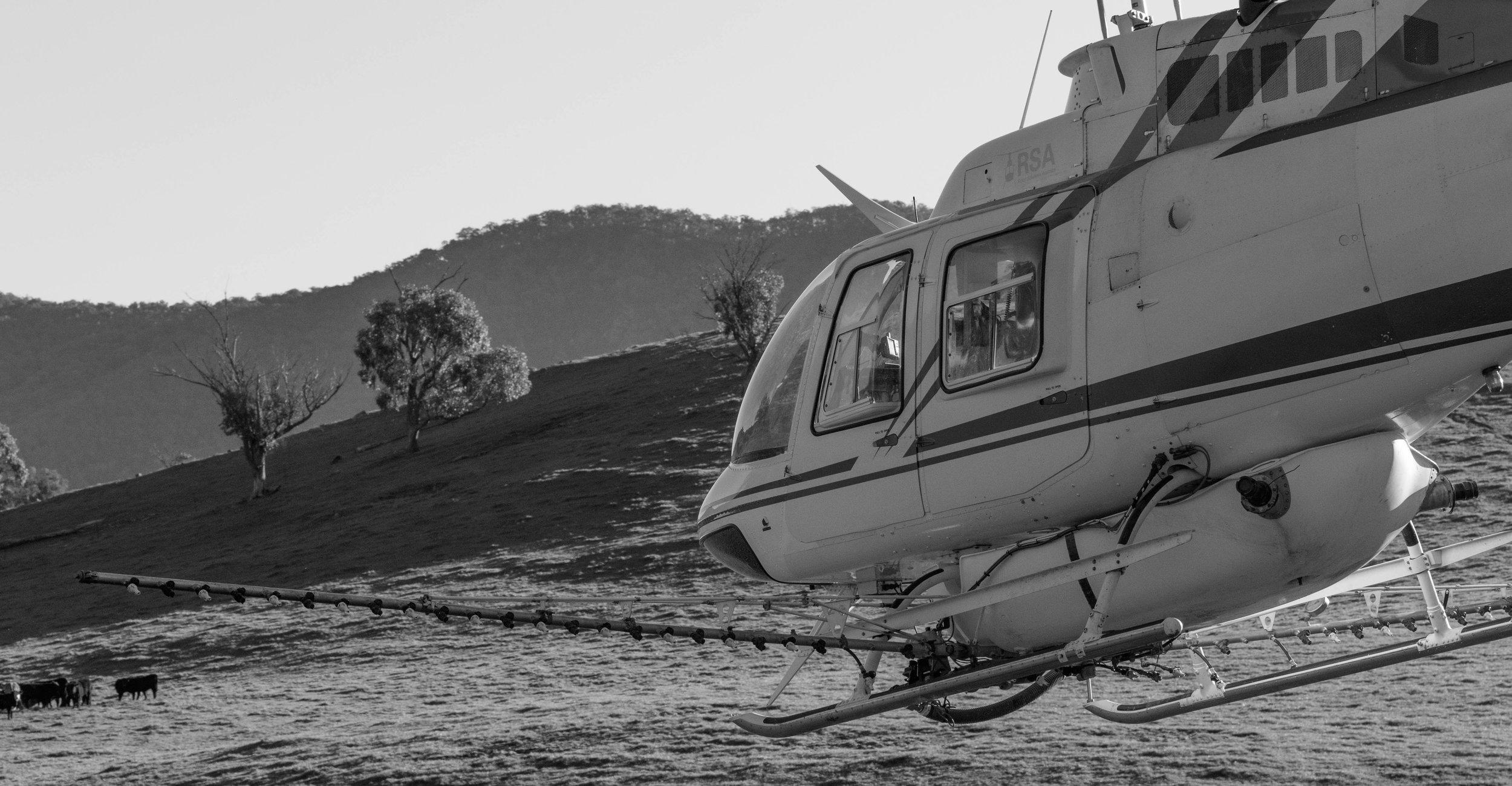 Jetranger Helicopter Spraying, Upper Murray NSW