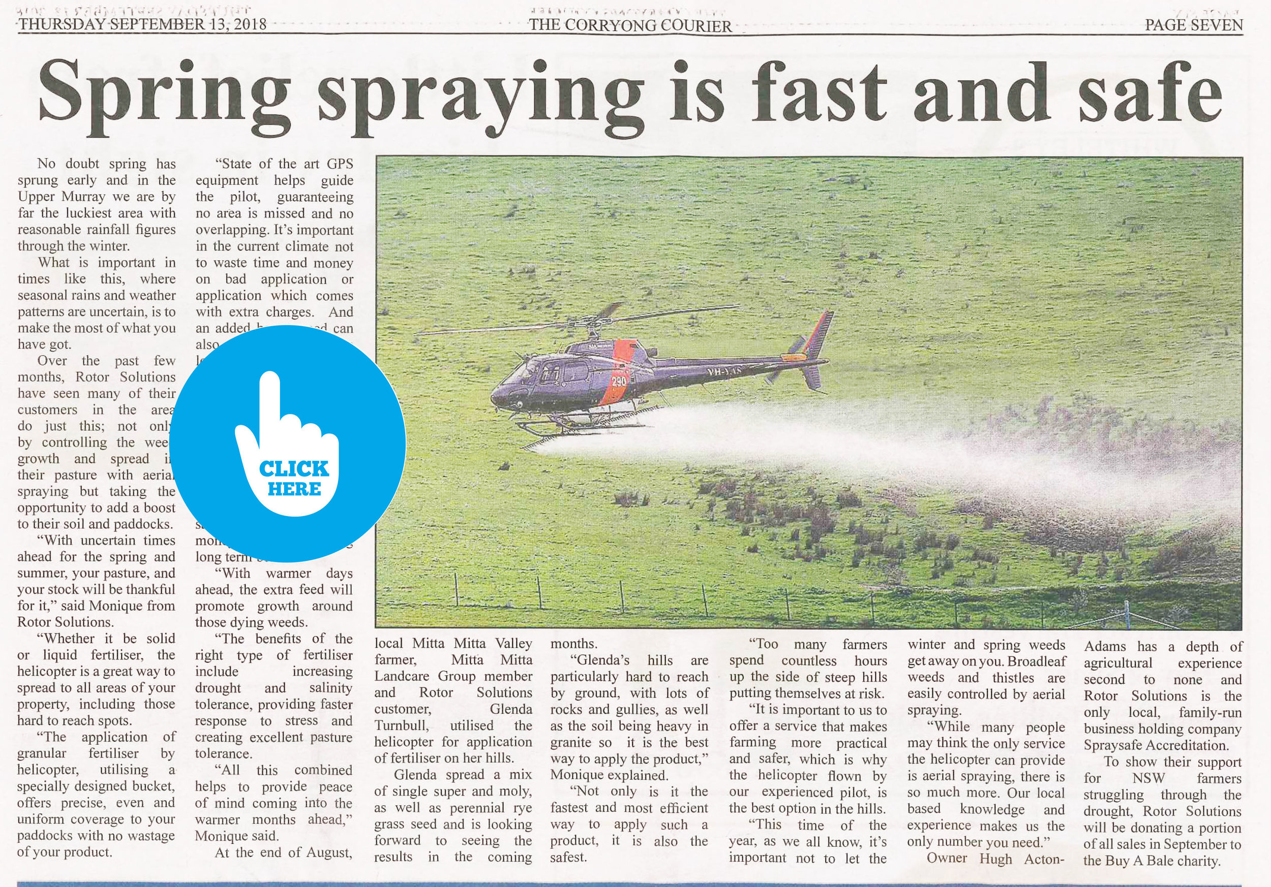 """Spring spraying is fast and safe"" - September 2018 - Corryong Courier"