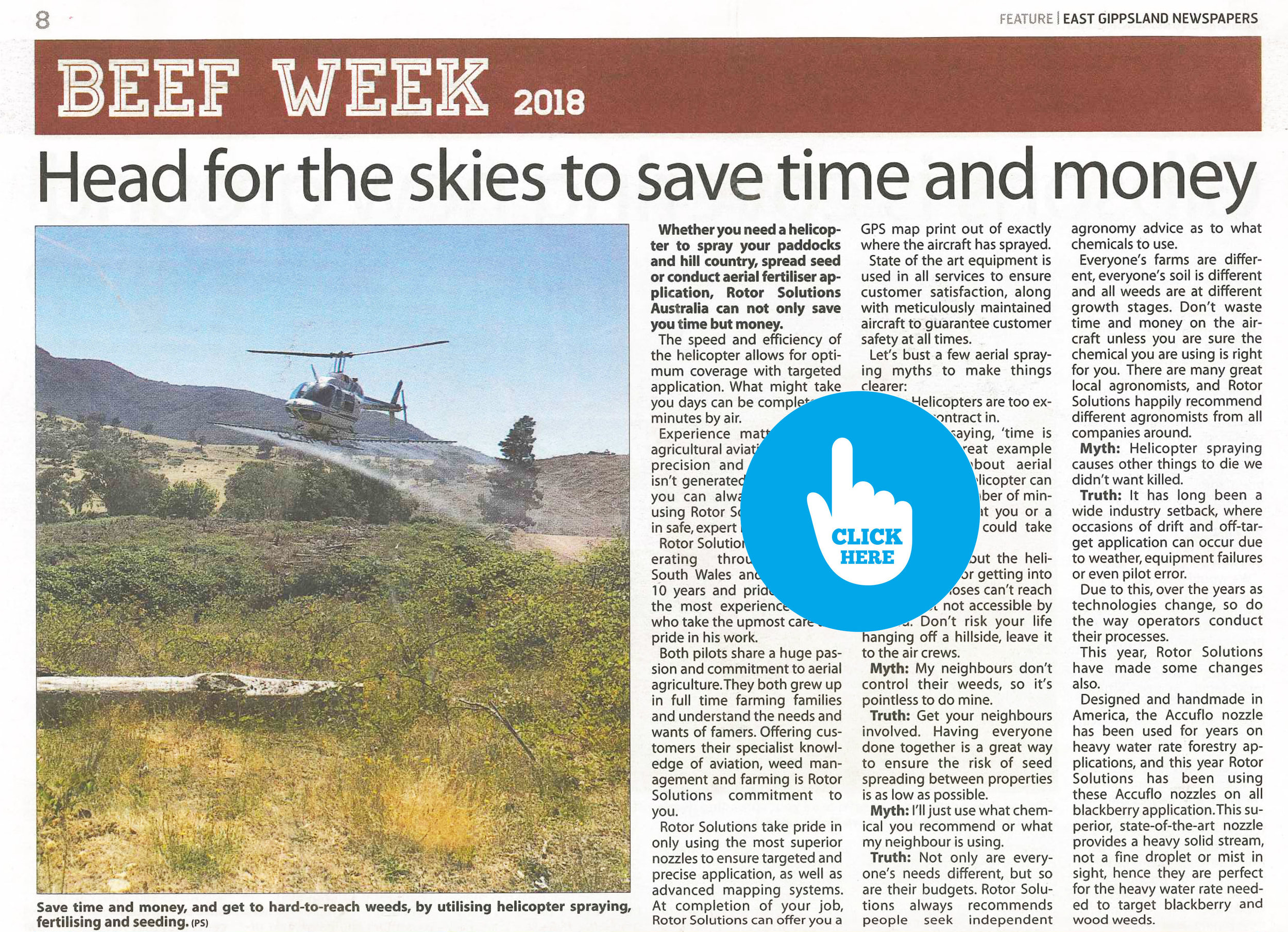 """Head for the skies to save time and money"" - January 2018 - East Gippsland Newspapers - BEEF WEEK FEATURE    BEEF WEEK WON BEST FEATURE 2018 - VICTORIAN COUNTRY PRESS ASSOCIATION AWARDS"