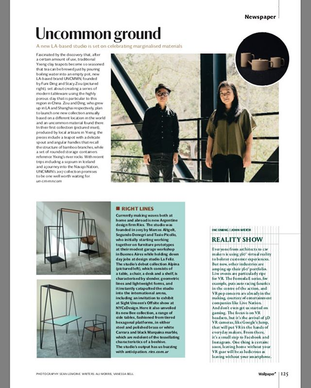 Short feature on @un_cm_mn in front section of the current October 2016 issue of @wallpapermag now on newsstands! Thank you to @ali__morris @seanlemoine Alex Milnes @tf_chan #wallpapermagazine #design #minimal #ceramics #homegoods #craftsmanship #losangeles #china #fusion #contemporary #teaware #stoneware #modern #traditional #slowliving #artisan #handmade #simple #rare #tea #peace
