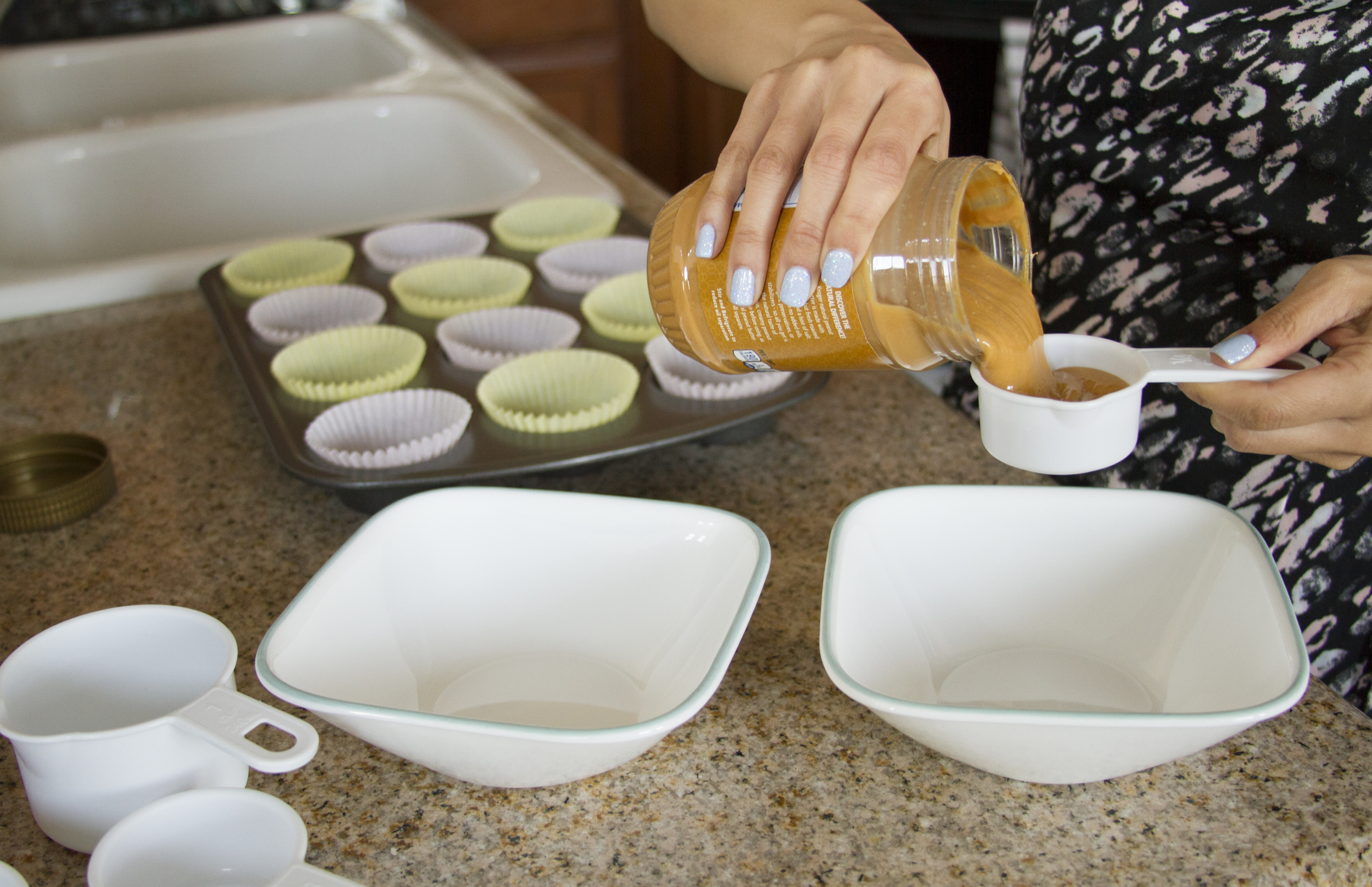While the bottom layer freezes, start on the top layer by adding 1/4 cup of natural smooth peanut butter into a new bowl.