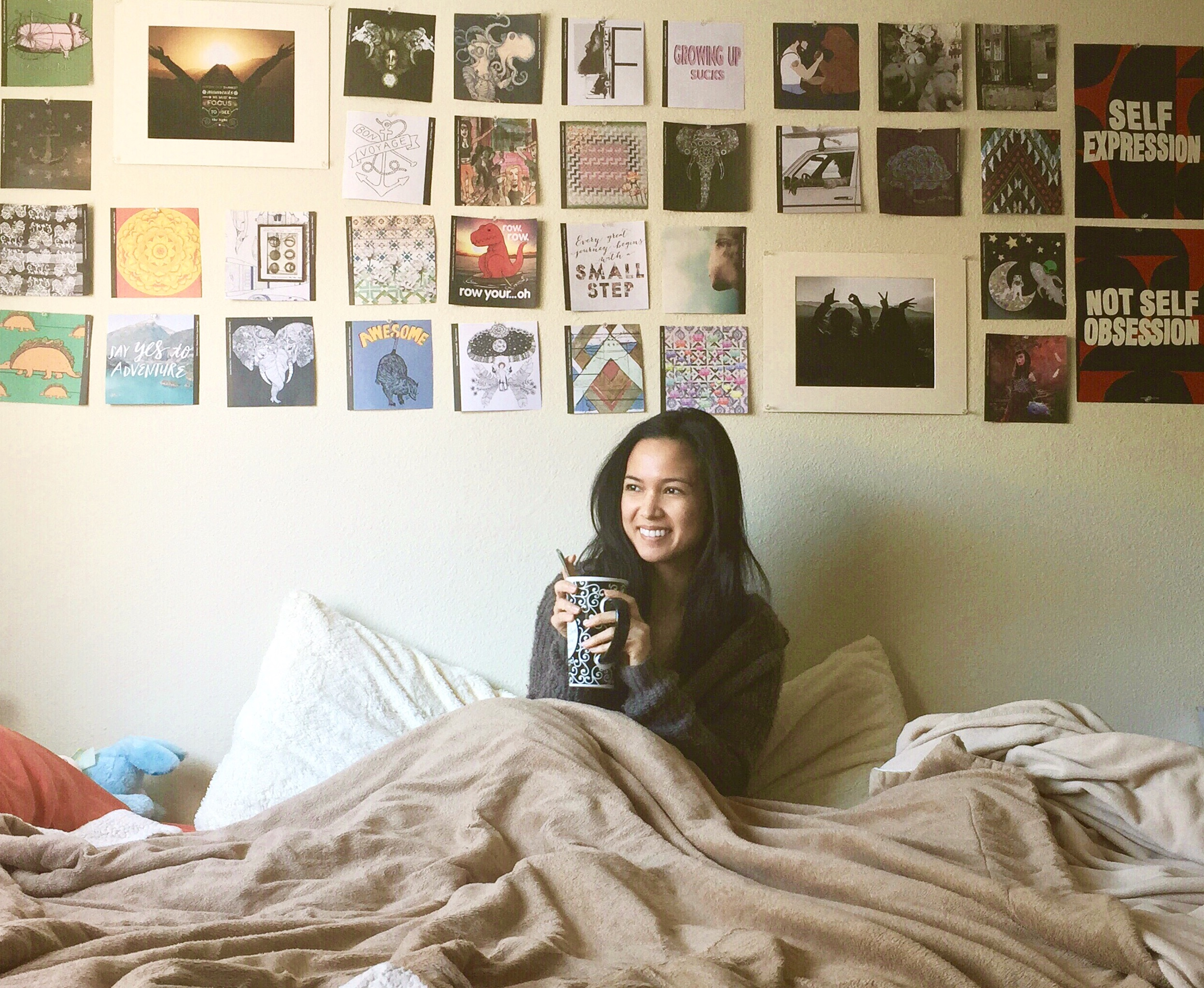 """One of my favorite quotes can be seen on my wall in the picture above: """"Self Expression, Not Self Obsession"""". Can I get an AMEN?! ;)"""