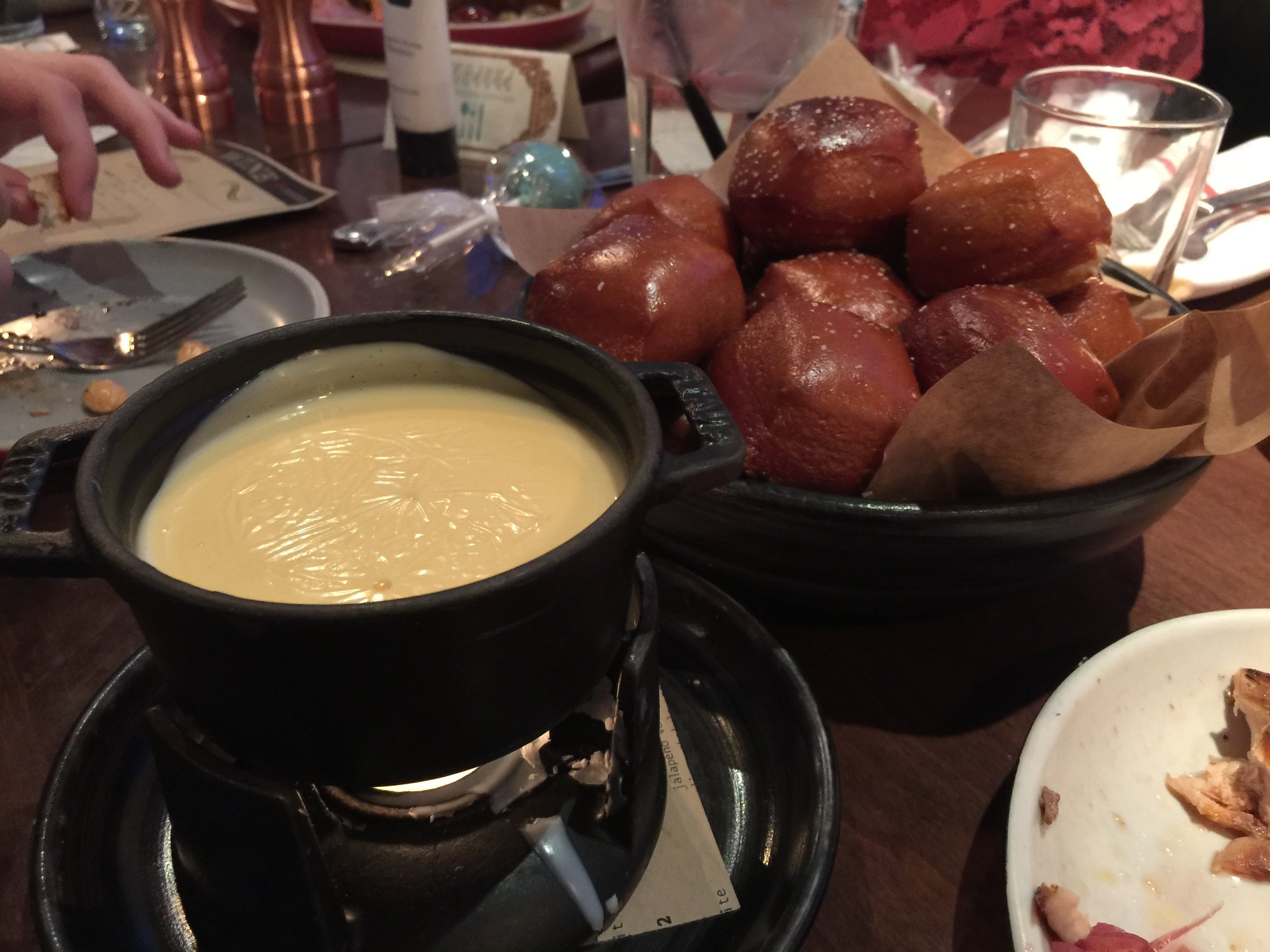 Soft Pretzels & Provolone Fondue   Carbs and cheese are the best combination with this snack ;) With the softness of the bread and the gooeyness of the cheese, this app was a hit at our event!