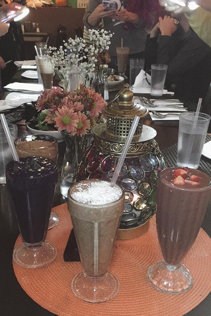 Vegan Milkshakes: Chocolate Peanut Butter, Blueberry Pie, German Chocolate Cake and Red Velvet