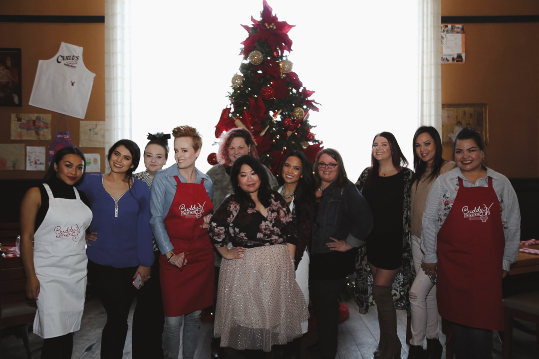 From left to right:  @Jamireese ,  @slashedbeauty ,  @homeinhighheels ,  @thedailynail , our awesome PR lady,  @jetsettingdaisy , me,  @hungryinvegas ,  @ayron.bloss ,  @amberallurecupcakes , and  @_awmyposh .