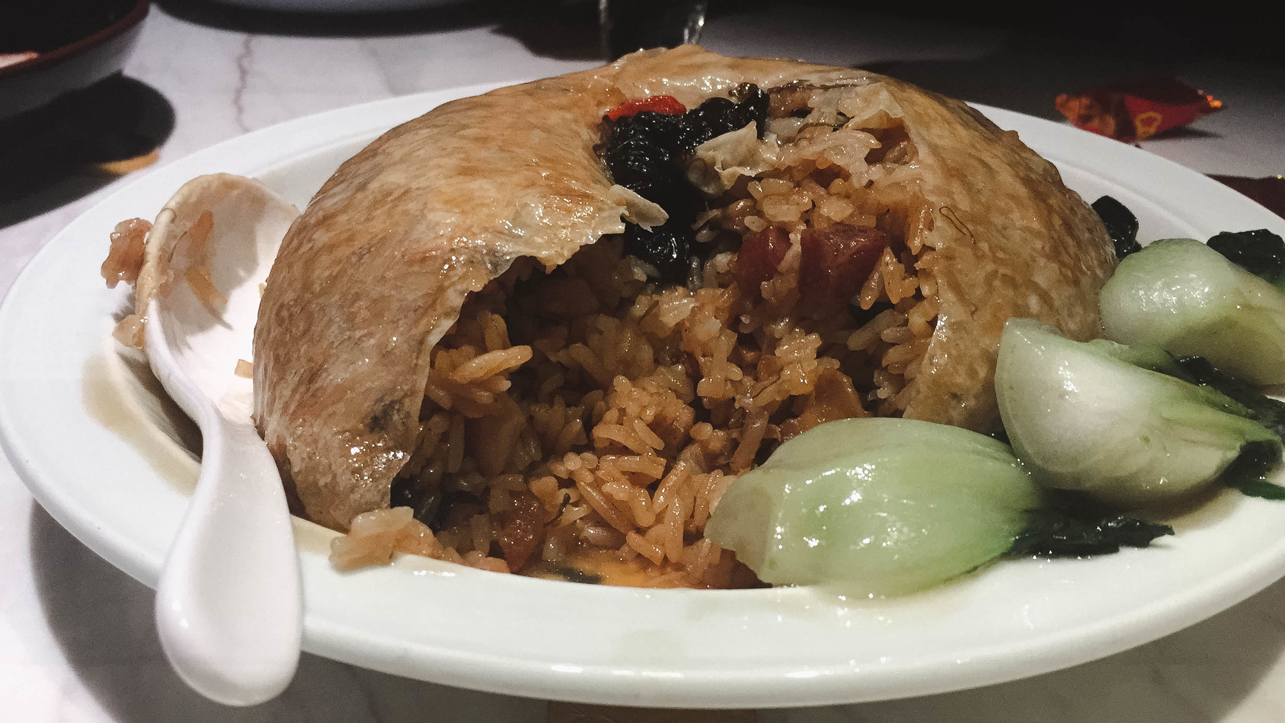 Abalone fried rice in bean curd wrap
