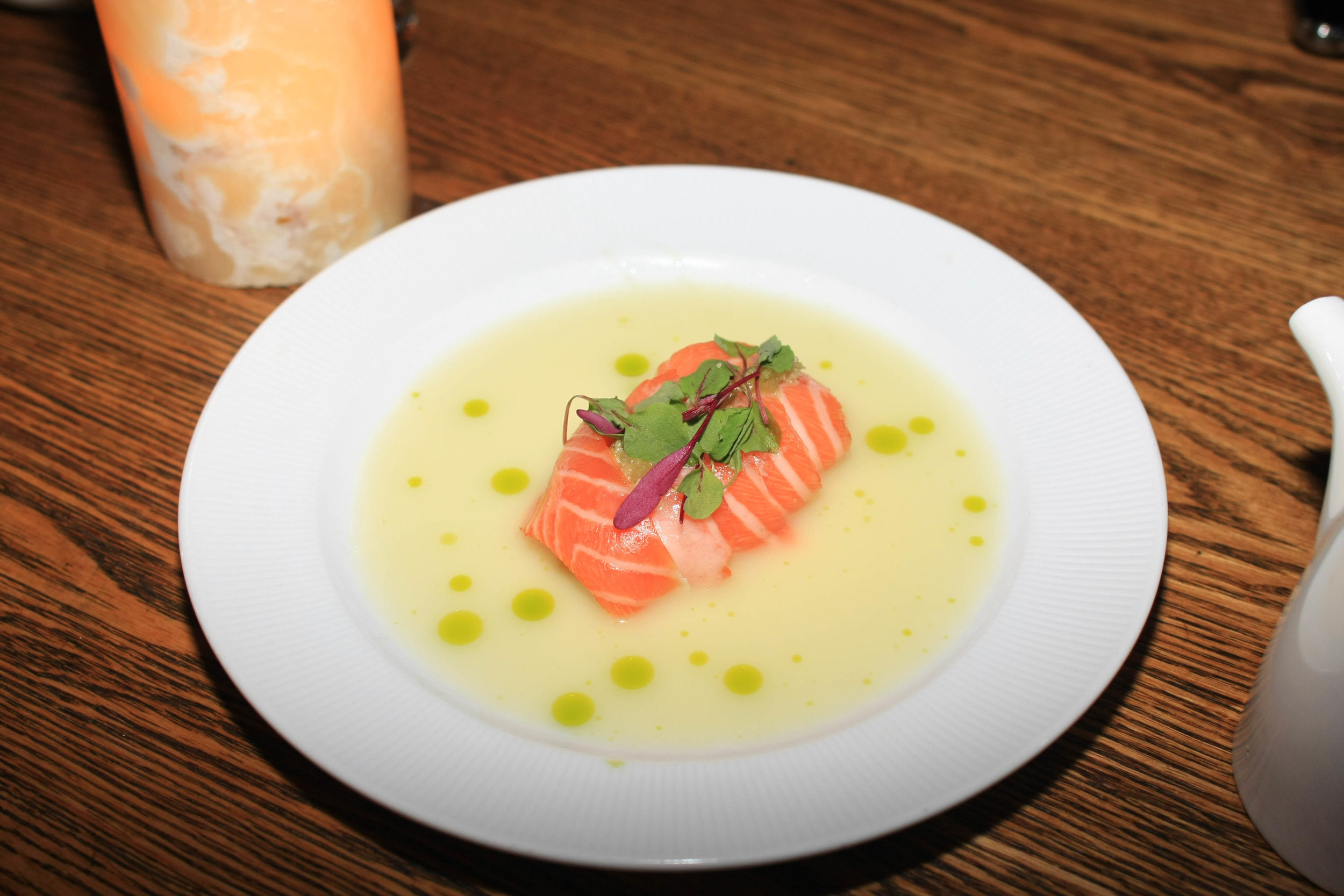 Salmon Tiradito - Charred Peach, Cilantro oil