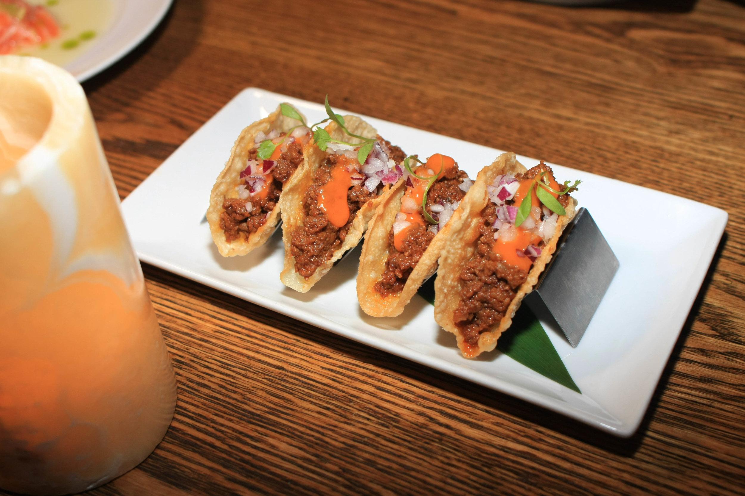 Kobe Beef Tacos - Togarashi Salsa, Kochijang, Micro Cilantro