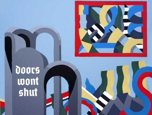 Doors wont shut, Acrylic on canvas, 89 x 116cm, 2018