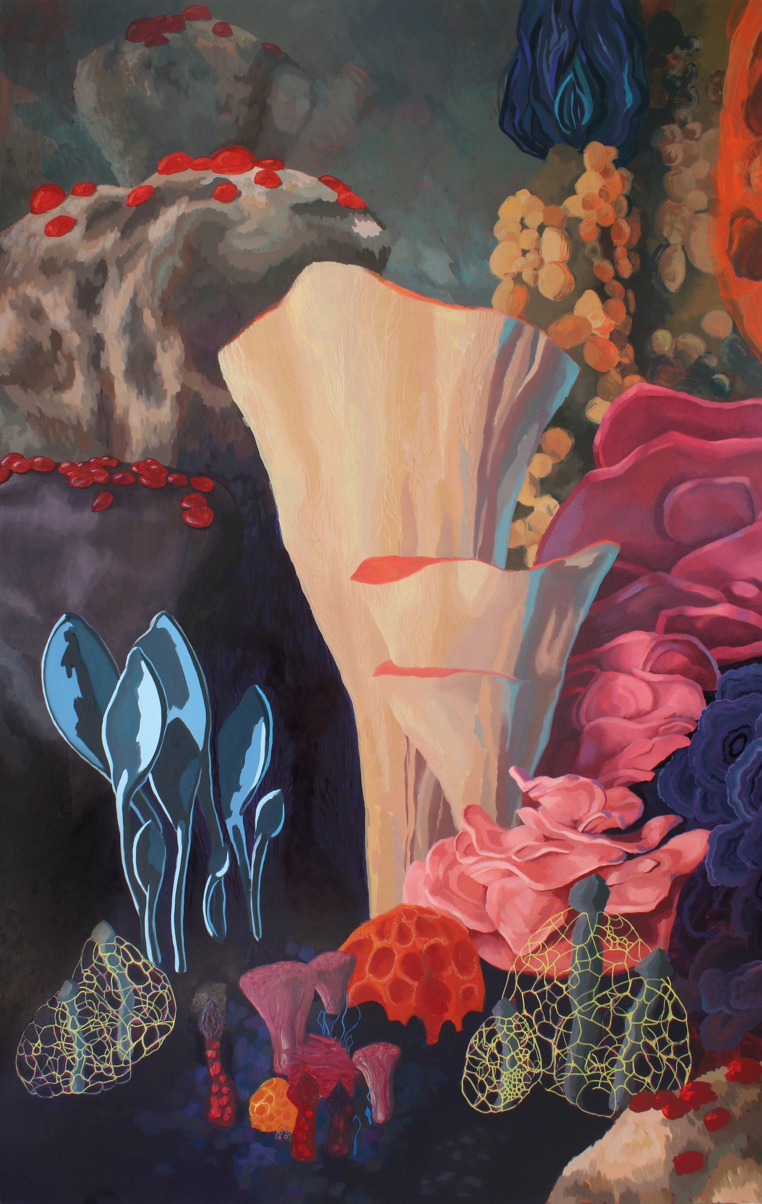 Mycelium  -2018 - Acrylic, oil and pen on woodpanels Diptych, 110 x 170 cm