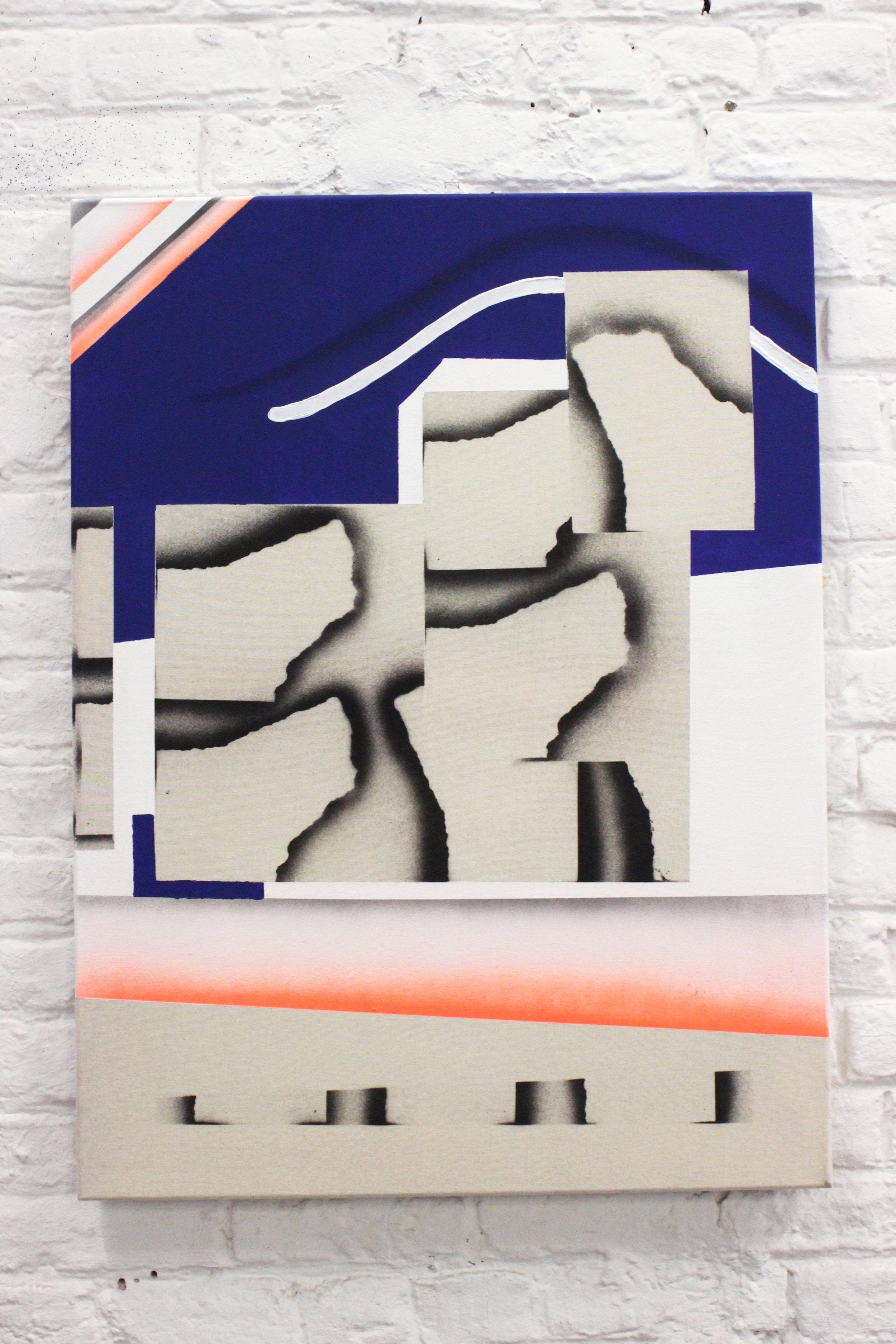 Untitled 13 - Acrylic, oil & spray on canvas - 60 x 80 cm - 2018
