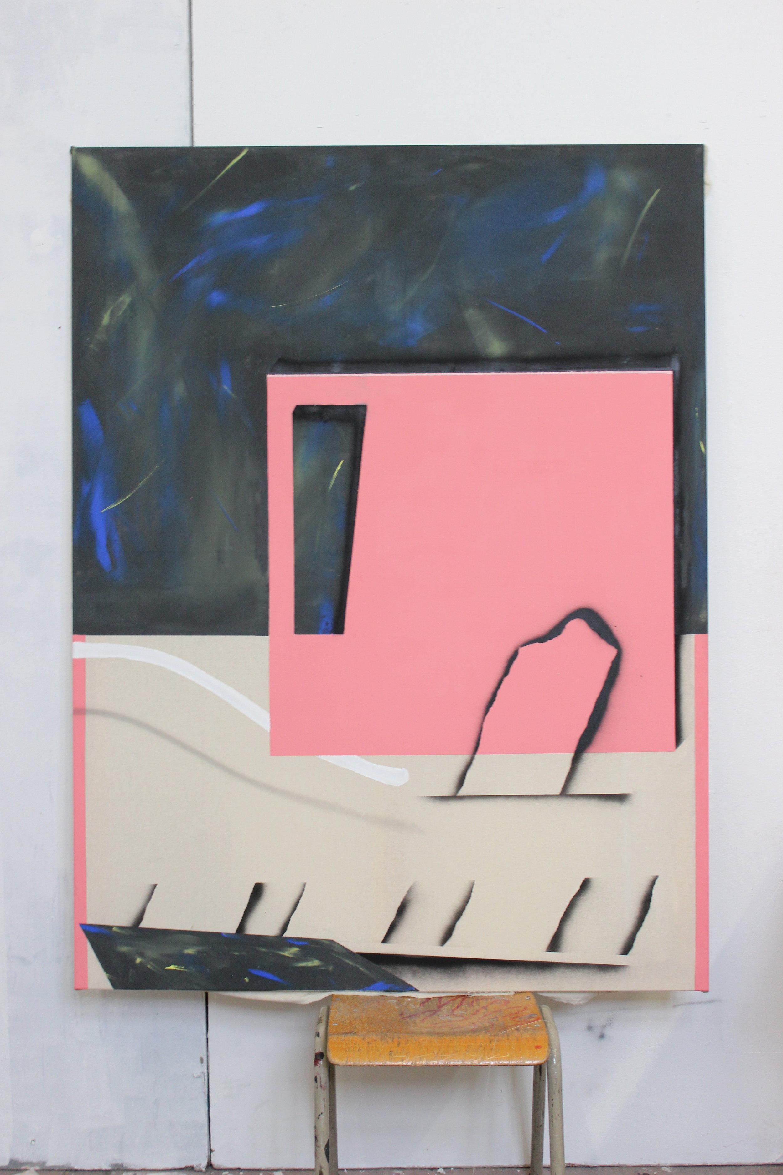 Romantic window 3 - Acrylic, oil & spray on canvas - 120 x 160 cm - 2018