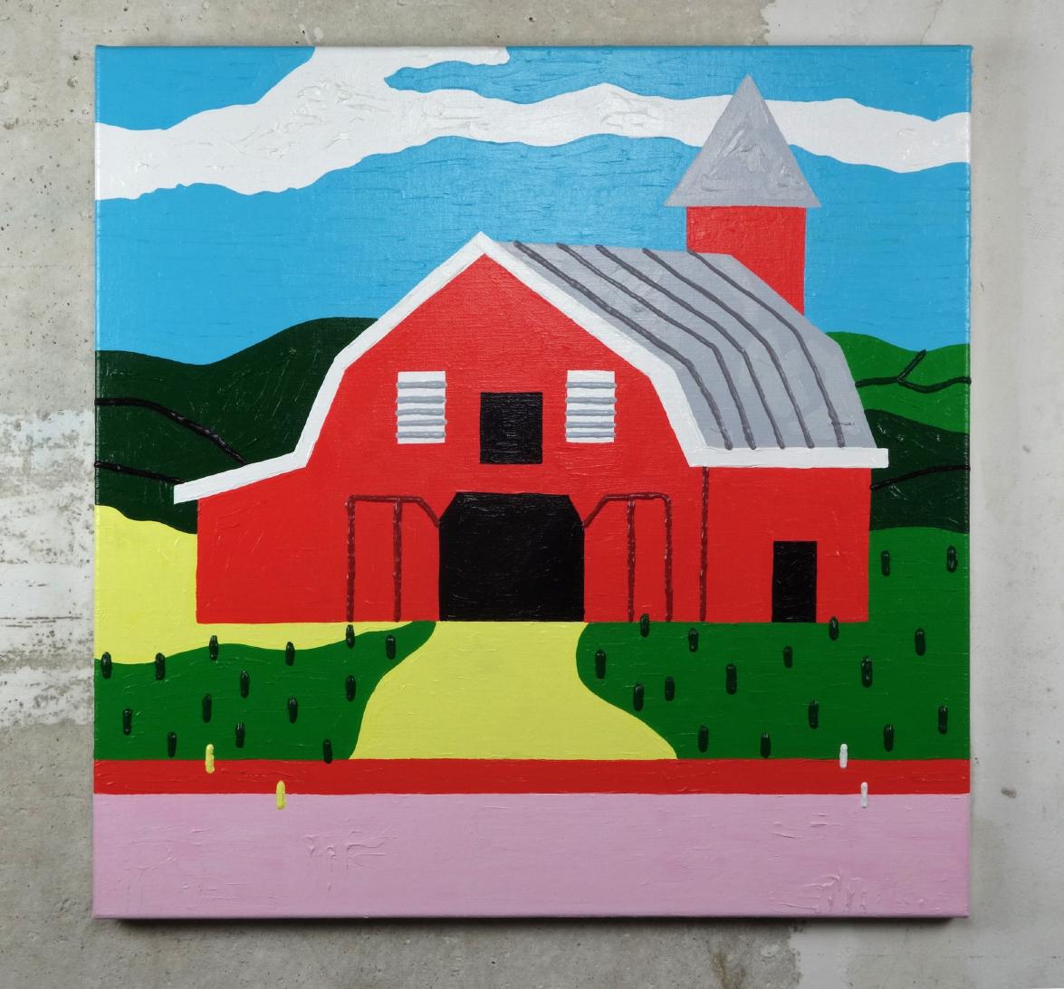 Red Barn - Acrylic on Linen - 60 x 60 cm
