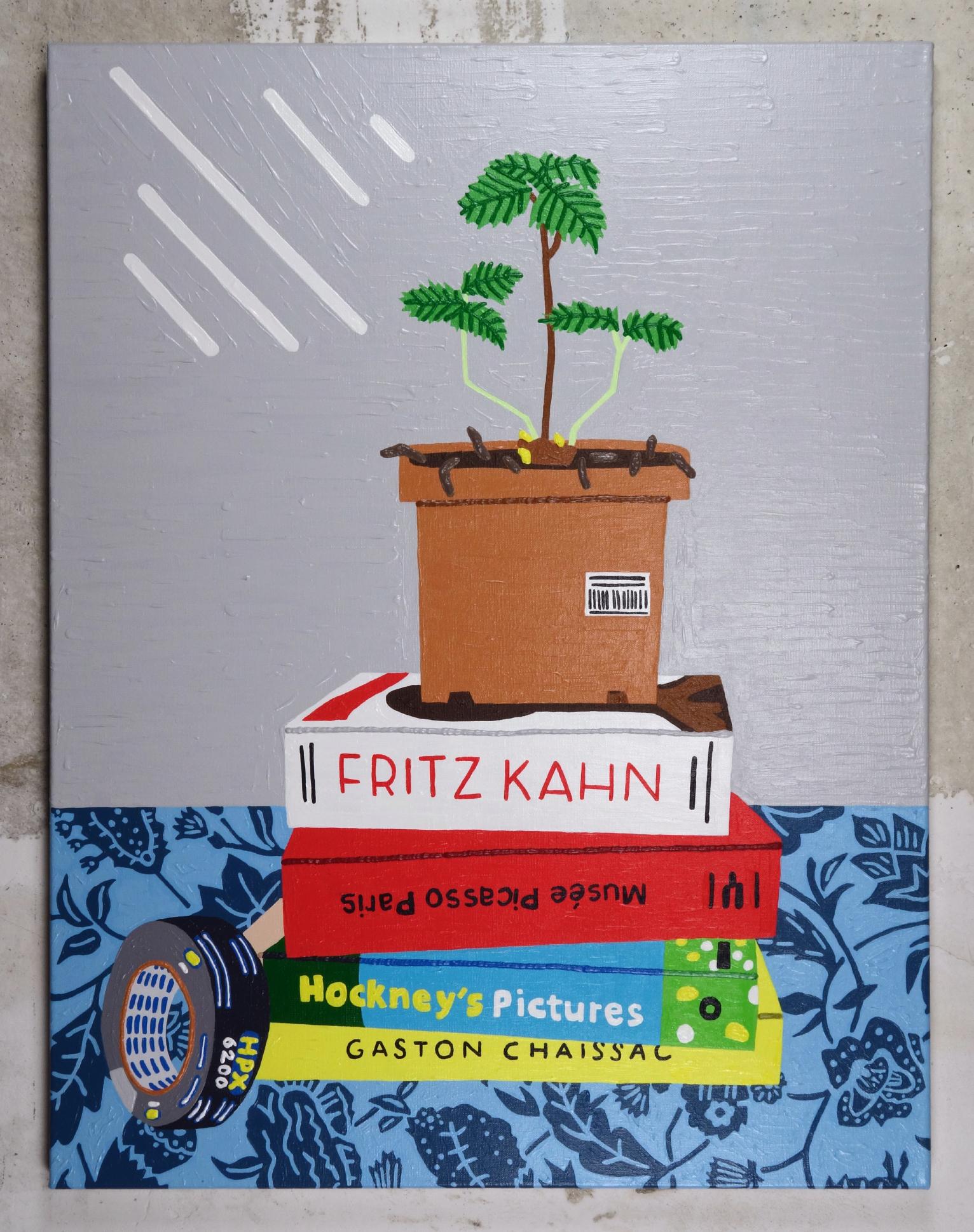 Pousse de fraisier, livres et ruban adhésif - Acrylic on Linen - 62 x 80 cm