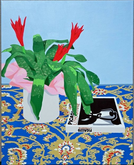 """Plant with Picasso's Book"" - Acrylic on Linen - 64 x 80 cm"