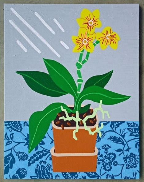 """""""Orchidée"""" - Acrylic on Linen - 64 x 80 cm"""