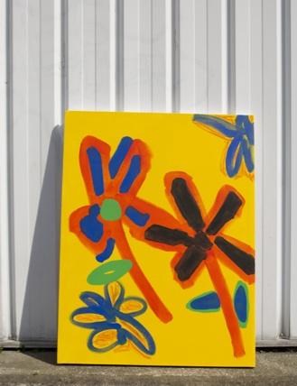 """ Composition florale "" - Acrylic on canvas - 89 x 116 cm - 2019"