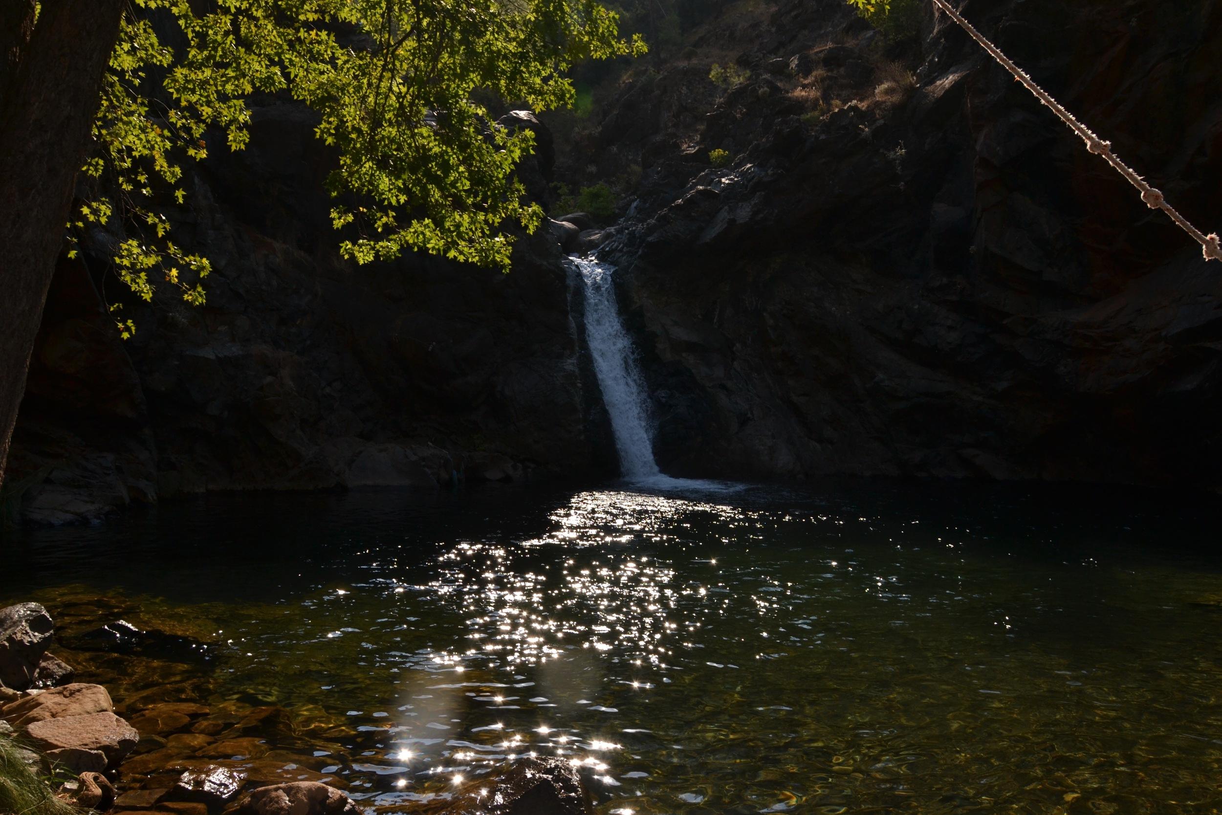 Peaceful waterfall before everyone has a dip
