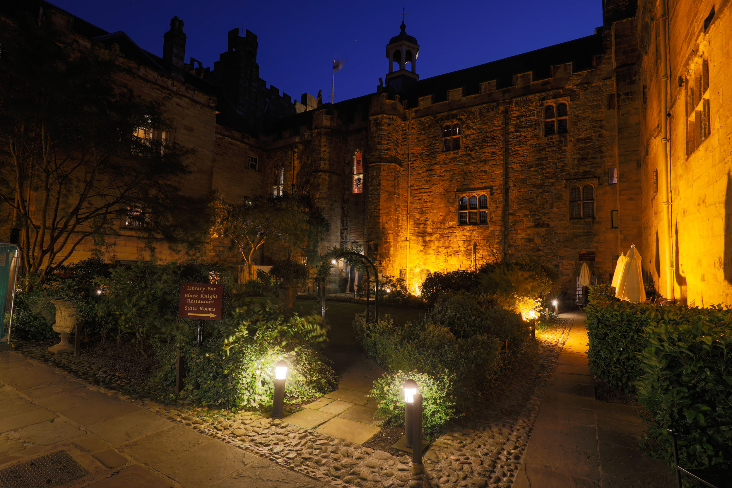 Lumley Castle Courtyard at night