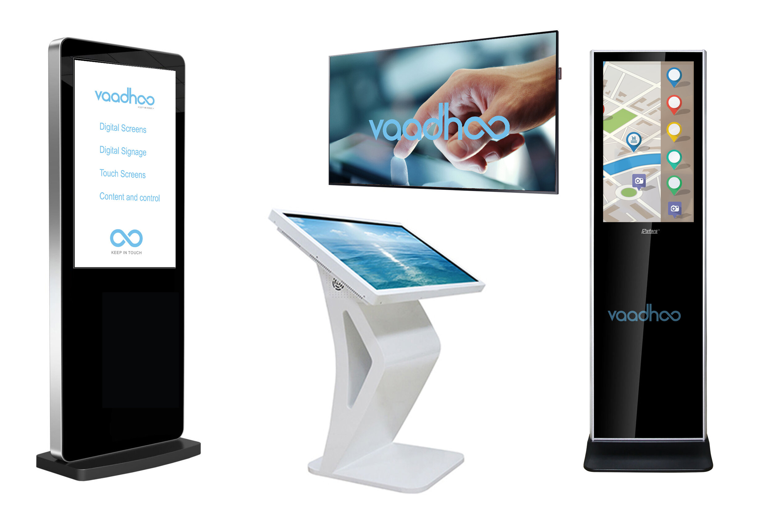 Wall mounted, freestanding and lectern digital sigange screens