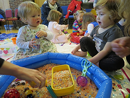 messy play activity idea with lentils