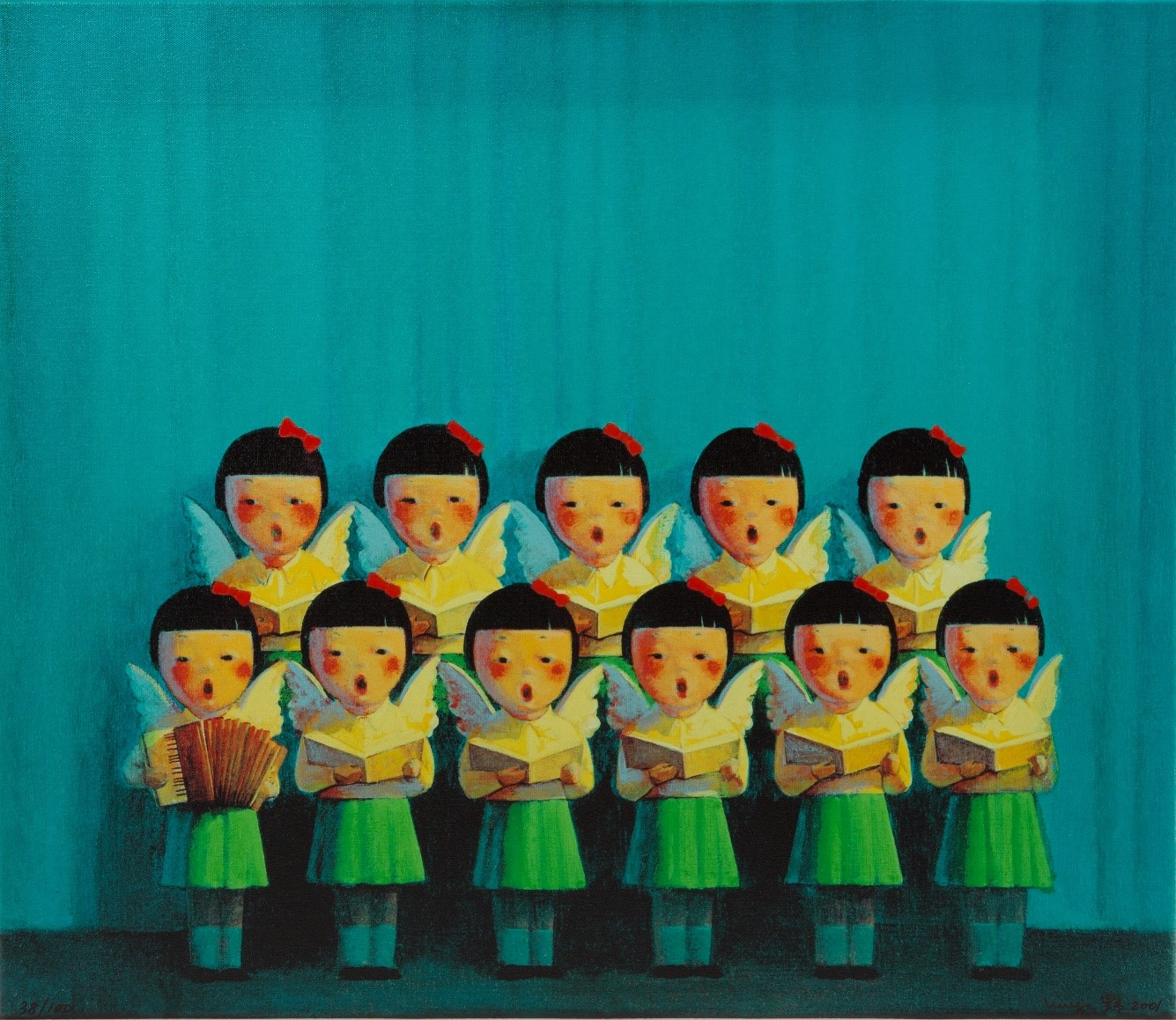 Liu Ye, Choir, Silkscreenprint with handpainted bowties, signed and numbered, 38/100 60x70cm.